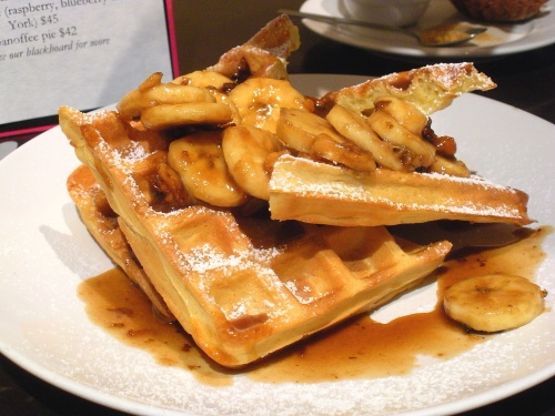 Waffles with caramelized bananas & crushed walnuts